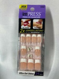 Impress Gel Manicure Press on Nails Medium French tip, with white bow charm