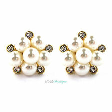 Bridal Wedding Vintage Crystal Pearl Flower Cluster Studs Earrings - Gold