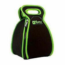 FlatBox - Solvetta Folds to a Placemat Insulated Neoprene Lunch Bag Black Green