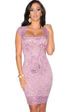 Purple Lace Nude Illusion Vintage Style Midi Party Dress Medium