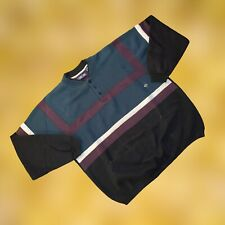 Vintage 80s Cherokee Sport Quarter Button Down Colorblock Sweatshirt Sz Xl