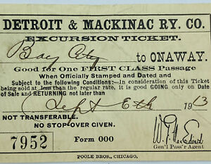 1913 Detroit & Mackinac Railway Bay City To Onaway First Class Ticket Michigan
