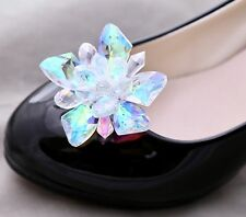 Small Wedding Glass Flower Crystal Beads Aurora Stone Princess Shoe Clips Pair