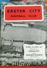 Football Programme>Exeter City v Oldham Athletic Aug 1965