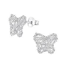 925 Sterling Silver Butterfly Weave Stud Earrings