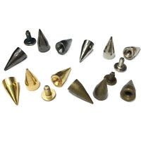 100 Sets 14MM Bullet Cone Spike and Stud Metal Screw Back for DIY Leather-craft