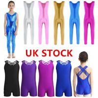 UK Kid Girls Gymnastics Ballet Dance Leotard Jumpsuit Sleeveless Dancewear Cloth