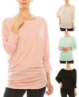 Women Dolman Tunic Top Blouse Side Shirring Loose Fit Boat Neck Shirt 3/4 Sleeve