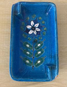 Bitossi Pottery Ashtray Stylised Floral Sgrafitto Design in Rimini Blue