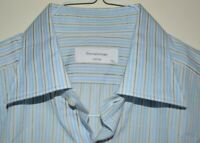 $615 MINT Ermenegildo Zegna Couture Blue Striped Cotton Dress Shirt 17 36