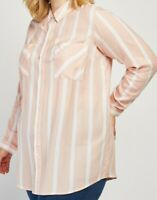 Ladies Plus Size Tunic Pink Striped Shirt Blouse Long Sleeves Breast Pockets NEW