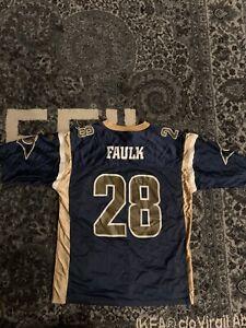 Adidas Team Los Angeles Rams Marshall Faulk #28 Blue Jersey Youth Sz XL 18/20