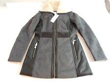 NWT Vero Moda VERVE 3/4 Shearling Fake Faux Fur Jacket Coat XS GRAY/BLACK
