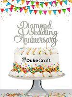 60th Diamond Wedding Anniversary Custom Cake Topper Personalised Glitter Silver