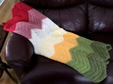 CROCHET blanket afghan couch throw wrap chevron ripple handmade baby Christmas