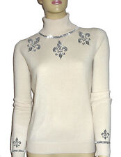 LUXE OH `DOR® 100% Cashmere Pullover Sweater Luxus perlweiß silber 46/48 L/XL