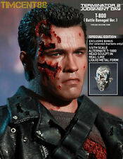 Hot Toys 1/6 DX13 Terminator T2 T-800 Battle Damaged Special T1000 Head Sealed!