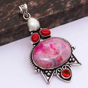 "Pink Dendrite Opal Garnet Ethnic Handmade Pendant Jewelry 3"" AP 38415"
