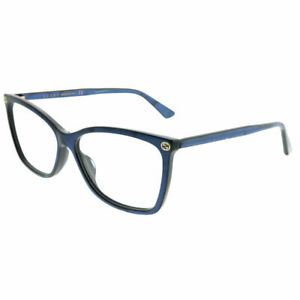 New Authentic Gucci GG0025O 005 Blue Plastic Rectangle Eyeglasses 56mm