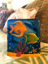 Acrylic Tissue Cube Box Cover Ocean 3-D Tropical Fish Sea Beach Decor/Well Made!