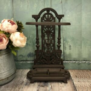 Victorian Style Cast Iron Umbrella Stand Indoor Outdoor Walking Stick Storage