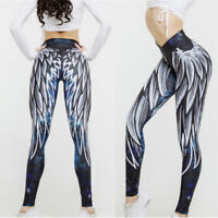 Femme Sports Yoga Plume Imprimé  Leggings Gym Wear Slim Fitness Running Pants