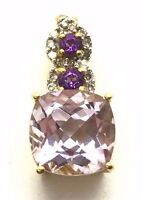 Gold Tone Sterling Silver 925 Cushion Round Purple Amethyst / CZ Bail Pendant