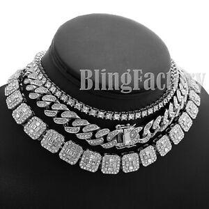 "Hip Hop Iced Silver PT 18"" Cuban & 1 Row Tennis Choker Chain Bust Down Necklace"