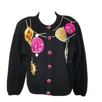 Vintage Spree Christmas Sweater Jeweled Beaded Ornaments Wool Small Bling