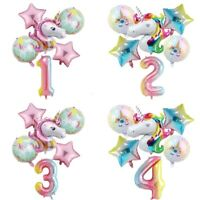 "6pc 32"" Number Unicorn Foil Balloon Princess Birthday Party Baby Shower Decor"