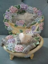 Ff Fitz Floyd Nature's Treasures Hippo in tub Canape Plate Candy Dish rare 2001