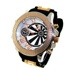 MENS ICED OUT ROSEGOLD/BLACK CAPTAIN BLING ICE NATION HIP HOP BULLET BAND WATCH