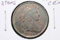 1804 Plain 4, No Stems Draped Bust Half Cent, RB Ch. AU