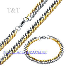 T&T 8mm 316L Stainless Steel Two Tone Curb Chain Necklace with Bracelet SET