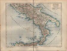 Landkarte map 1908: ITALIEN Südliche Hälfte. Latium Abruzzen Molise Apulien