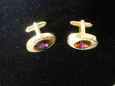 Collectible Gold Tone Oval Shaped With Colorful Gem Design Cuff Links Jewelry