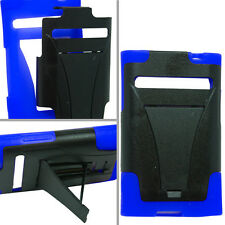 LG Optimus Dynamic L38G Advanced HYBRID KICK STAND Rubber Case Cover Black Blue