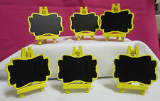 BOX OF 12  YELLOW WOODEN MINI BLACKBOARD EASELS NAME PLACE CARD HOLDERS