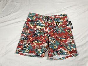 Polo Ralph Lauren Swim Trunks Suit Tropical Aloha Hawaiian Red Mens XXL New Tags