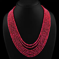 642.20 CTS NATURAL RICH RED RUBY 7 LINE ROUND SHAPED BEADS NECKLACE - BIG DEAL