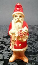 "Antique 1920s Viscoloid 5.25"" Celluloid Christmas Santa Claus Figurine Doll Toy"