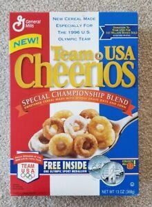 CHEERIOS TEAM USA Vintage 1996 Full UNOPENED Cereal BOX