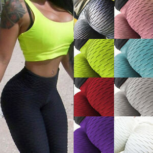Women Sexy Ruching Push Up Yoga Leggings Skinny Bodysuit Running Scrunch Pants B
