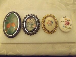 4 BROOCHES - 2 Embroidered and 2 Ceramic.