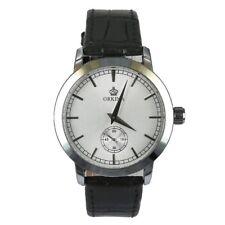 Orkina Subdial Quartz Analogue Sliver Case Black Leather Sport Men s Wrist Watch