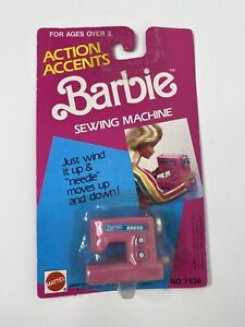 Mattel Barbie Vintage 1989 Action Accents Wind Up Sewing Machine Windup New Pink