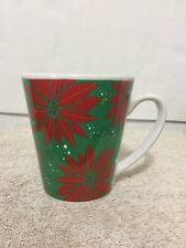 Ltd Ceramic Coffee Mug Christmas Holiday Poinsettias Red Green Snowflakes Cup