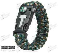 Bracelet Paracorde Camouflage 9 po. 4 en 1 - Homme Survie Chasse Boussole