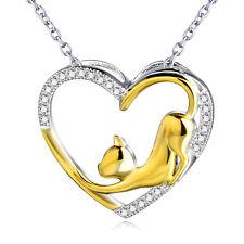925 SterlingSilber Gold Katze Zirkonia Edelsteine Herz Anhänger Halskette 45CM