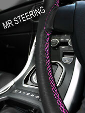 FITS MITSUBISHI LANCER 2007+ LEATHER STEERING WHEEL COVER HOT PINK DOUBLE STITCH